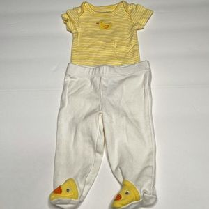 New Carter's 2 Piece Ducky One Piece & Footie Pant